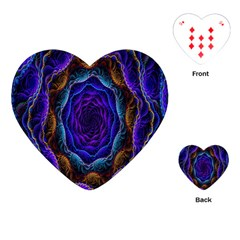 Flowers Dive Neon Light Patterns Playing Cards (heart)  by Simbadda