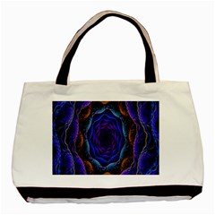 Flowers Dive Neon Light Patterns Basic Tote Bag by Simbadda
