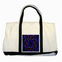 Flowers Dive Neon Light Patterns Two Tone Tote Bag by Simbadda