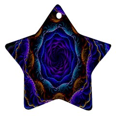 Flowers Dive Neon Light Patterns Star Ornament (two Sides) by Simbadda