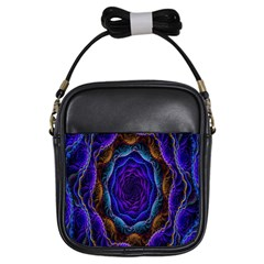 Flowers Dive Neon Light Patterns Girls Sling Bags by Simbadda