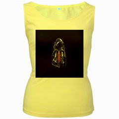 Humor Rocket Ice Cream Funny Astronauts Minimalistic Black Background Women s Yellow Tank Top by Simbadda