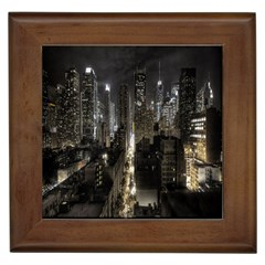 New York United States Of America Night Top View Framed Tiles by Simbadda