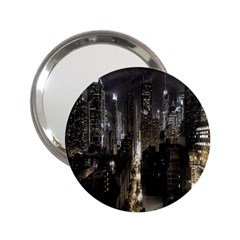 New York United States Of America Night Top View 2 25  Handbag Mirrors by Simbadda