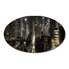 New York United States Of America Night Top View Oval Magnet by Simbadda