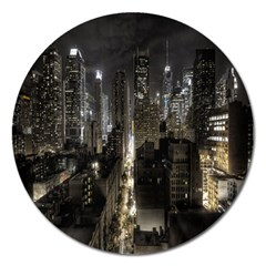 New York United States Of America Night Top View Magnet 5  (round) by Simbadda