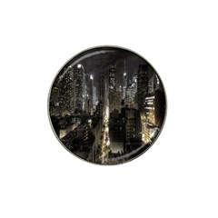 New York United States Of America Night Top View Hat Clip Ball Marker (4 Pack) by Simbadda