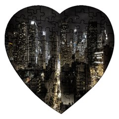 New York United States Of America Night Top View Jigsaw Puzzle (heart) by Simbadda
