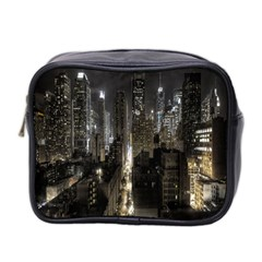 New York United States Of America Night Top View Mini Toiletries Bag 2 Side