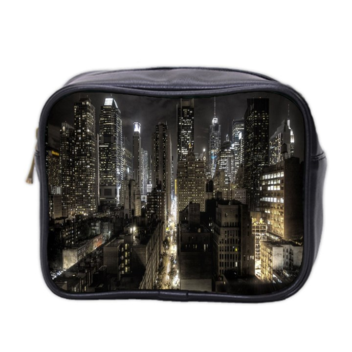 New York United States Of America Night Top View Mini Toiletries Bag 2-Side
