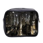 New York United States Of America Night Top View Mini Toiletries Bag 2-Side Back