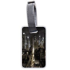 New York United States Of America Night Top View Luggage Tags (one Side)  by Simbadda