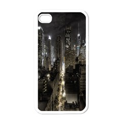New York United States Of America Night Top View Apple Iphone 4 Case (white)