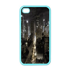 New York United States Of America Night Top View Apple Iphone 4 Case (color) by Simbadda