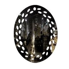 New York United States Of America Night Top View Oval Filigree Ornament (two Sides) by Simbadda