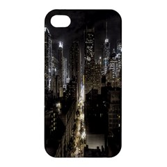 New York United States Of America Night Top View Apple Iphone 4/4s Premium Hardshell Case by Simbadda