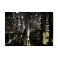 New York United States Of America Night Top View Apple Ipad Mini Flip Case by Simbadda