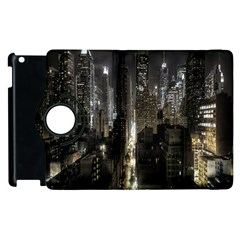 New York United States Of America Night Top View Apple Ipad 3/4 Flip 360 Case by Simbadda
