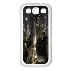 New York United States Of America Night Top View Samsung Galaxy S3 Back Case (white) by Simbadda