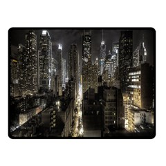 New York United States Of America Night Top View Double Sided Fleece Blanket (small)  by Simbadda