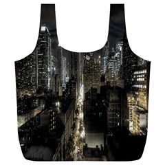 New York United States Of America Night Top View Full Print Recycle Bags (l)  by Simbadda