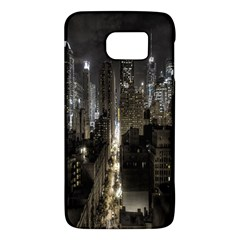 New York United States Of America Night Top View Galaxy S6 by Simbadda