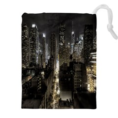 New York United States Of America Night Top View Drawstring Pouches (xxl) by Simbadda
