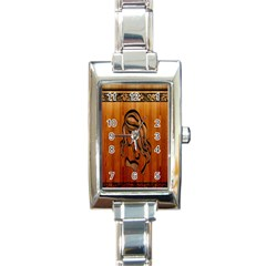 Pattern Shape Wood Background Texture Rectangle Italian Charm Watch by Simbadda