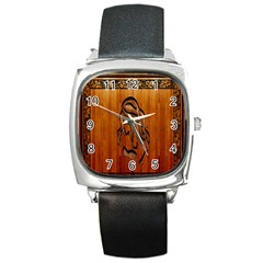 Pattern Shape Wood Background Texture Square Metal Watch by Simbadda