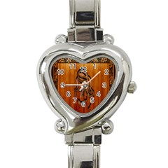 Pattern Shape Wood Background Texture Heart Italian Charm Watch by Simbadda