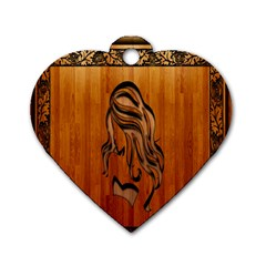 Pattern Shape Wood Background Texture Dog Tag Heart (one Side) by Simbadda
