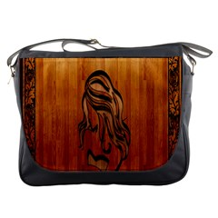 Pattern Shape Wood Background Texture Messenger Bags by Simbadda