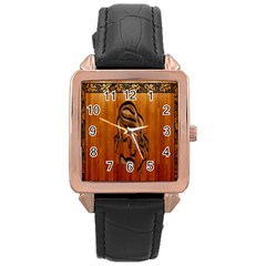 Pattern Shape Wood Background Texture Rose Gold Leather Watch  by Simbadda