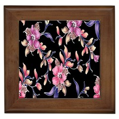 Neon Flowers Black Background Framed Tiles by Simbadda