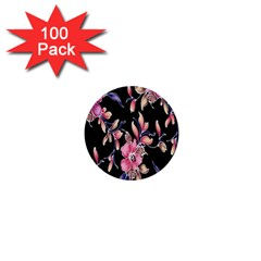 Neon Flowers Black Background 1  Mini Buttons (100 Pack)  by Simbadda