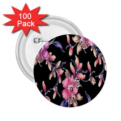 Neon Flowers Black Background 2 25  Buttons (100 Pack)  by Simbadda