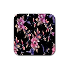 Neon Flowers Black Background Rubber Square Coaster (4 Pack)  by Simbadda
