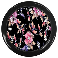 Neon Flowers Black Background Wall Clocks (black) by Simbadda