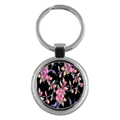 Neon Flowers Black Background Key Chains (round)  by Simbadda