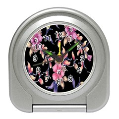Neon Flowers Black Background Travel Alarm Clocks by Simbadda