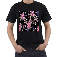 Neon Flowers Black Background Men s T Shirt (black) (two Sided) by Simbadda