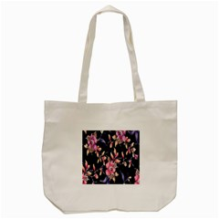 Neon Flowers Black Background Tote Bag (cream) by Simbadda