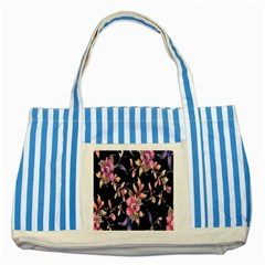 Neon Flowers Black Background Striped Blue Tote Bag by Simbadda
