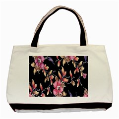 Neon Flowers Black Background Basic Tote Bag (two Sides) by Simbadda