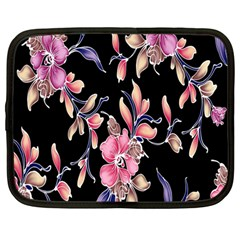 Neon Flowers Black Background Netbook Case (large) by Simbadda