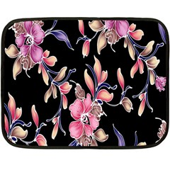 Neon Flowers Black Background Double Sided Fleece Blanket (mini)  by Simbadda