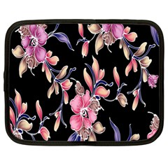 Neon Flowers Black Background Netbook Case (xl)  by Simbadda