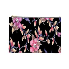 Neon Flowers Black Background Cosmetic Bag (large)  by Simbadda