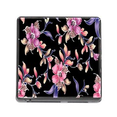 Neon Flowers Black Background Memory Card Reader (square) by Simbadda
