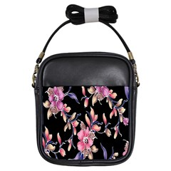Neon Flowers Black Background Girls Sling Bags by Simbadda